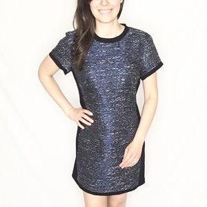 Madewell | Metallic Blue Tweed & Black Shell Dress